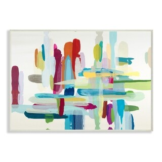 Colorful Cross Hatch Abstraction Wall Plaque Art