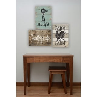 Countryside Distressed Wood Look Wall Plaque Art