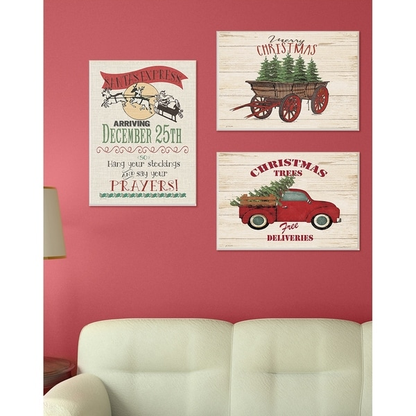 Merry Christmas Tree Wagon Wall Plaque Art