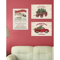Merry Christmas Vintage Tree Truck Wall Plaque Art