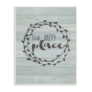 Our Happy Place Plank Wood Look Wall Plaque Art