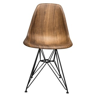 Wood Veneer Dining Side Chair with Black Steel Eiffel Leg