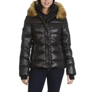 S13 New York Womens' Faux Fur Trimmed Hooded Coat
