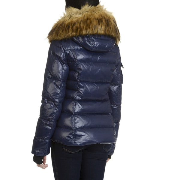 S13 New York Womens' Faux Fur Trimmed Hooded Coat - Free Shipping ...