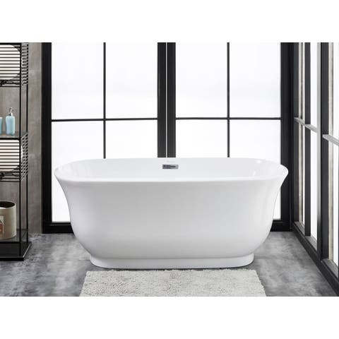 "Julieta 59"" x 28"" Freestanding Acrylic Soaking Bathtub by Finesse"