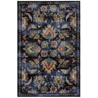 Gracewood Hollow Pulci Blue and MultiColor Traditional Area Rug - multi - 8' x 10'