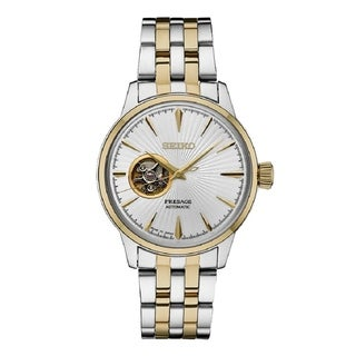 Seiko SSA358 Men's Presage 24 Jewel Automatic Two Tone Watch with Hand Wind a Power Reserve - Two-Tone