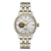 Seiko  Men's Presage 24 Jewel Automatic Two Tone Watch with Hand Wind a Power Reserve - Two-Tone