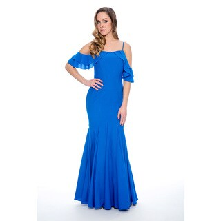 Women's Long Ruffled-Shoulder Formal Gown