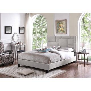 Handy Living Montreal Queen-sized Grey Linen Upholstered Bed