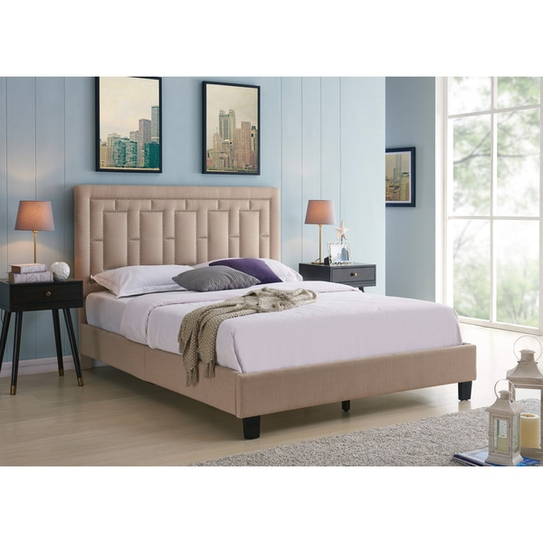 Handy Living Lisbon Queen-sized Taupe Linen Upholstered Bed