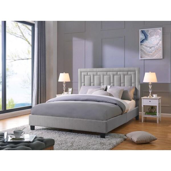 Handy Living Lisbon Queen-sized Grey Linen Upholstered Bed