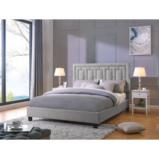 Handy Living Lisbon Queen-sized Grey Linen Upholstered Bed