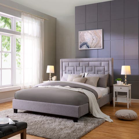 Handy Living DaVinci Queen-sized Grey Linen Upholstered Bed