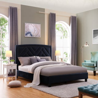 Handy Living Abingdon Queen-sized Navy Blue Velvet Upholstered Bed