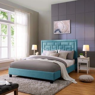 Handy Living DaVinci Queen-sized Blue Linen Upholstered Bed
