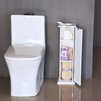 HomCom Freestanding Toilet Paper Storage Reserve - Wooden Tissue Holder - White