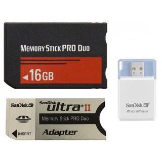 16 GB Memory Stick PRO Duo Flash Memory Card Plus Micromate reader and Adapter