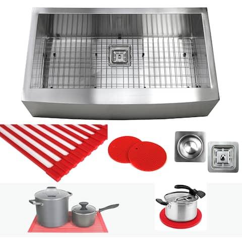 36 Inch Zero Radius Design 16 Gauge Single Bowl Stainless Steel Curve Farmhouse Apron Kitchen Sink Premium Package