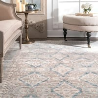 nuLoom Traditional Ornamental Diamonds Ivory/Blue/Taupe Rug - 6'7 x 9'