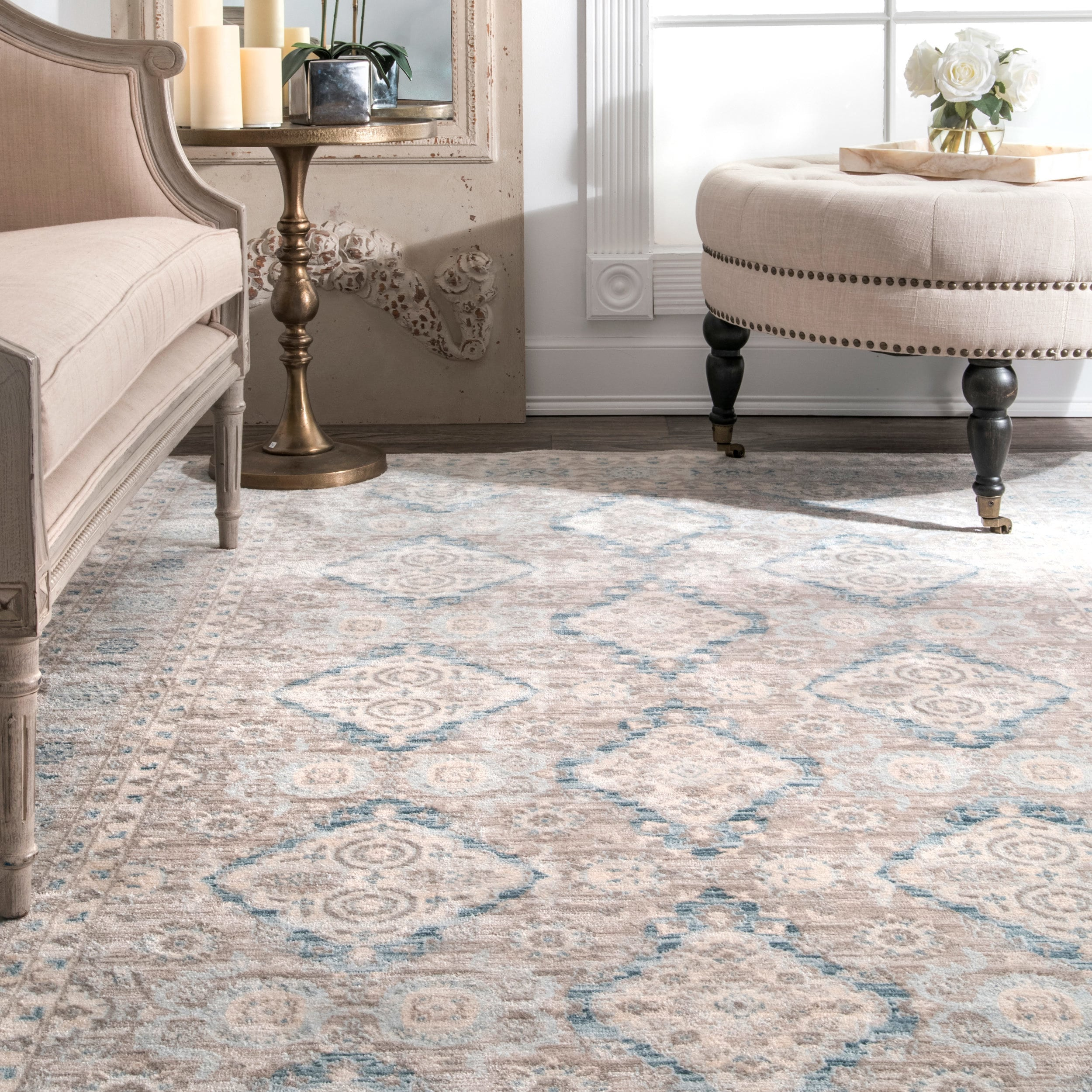 Shop Black Friday Deals On Nuloom Ivory Blue Taupe Traditional Ornamental Diamonds Area Rug On Sale Overstock 18074078