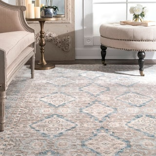 Link to nuLOOM Ivory/Blue/Taupe Traditional Ornamental Diamonds Area Rug Similar Items in Classic Rugs