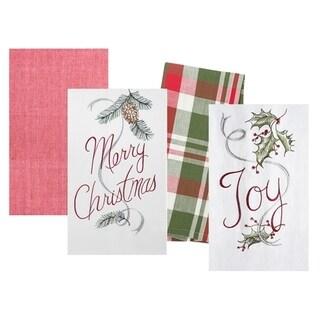 Merry and Joy Kitchen Flour Sack Kitchen Towel Set of 4