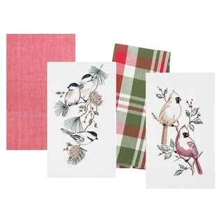 Exceptionnel Christmas Birds (Cardinal And Chickadee) Kitchen Flour Sack Kitchen Towel  Set Of 4