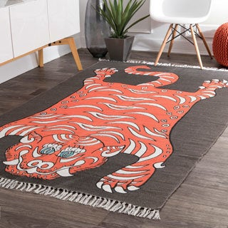 nuLoom Made by Thomas Paul Contemporary Indoor/Outdoor Printed Mystic Tiger Tassel Orange/Brown Rug (7'6 x 9'6)
