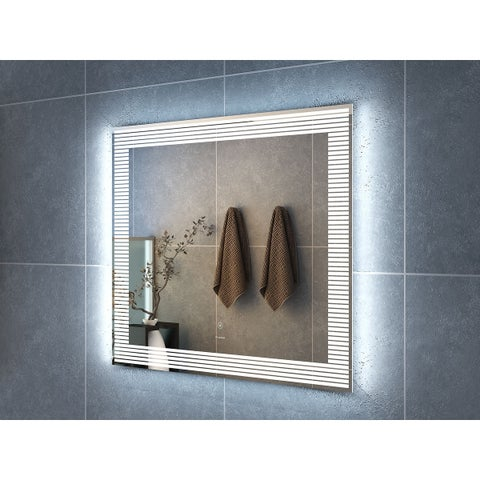 "36"" Draco Illuminated Rectangle LED Mirror by Finesse - Clear - 36"" w x 1.5"" d x 32"" h"