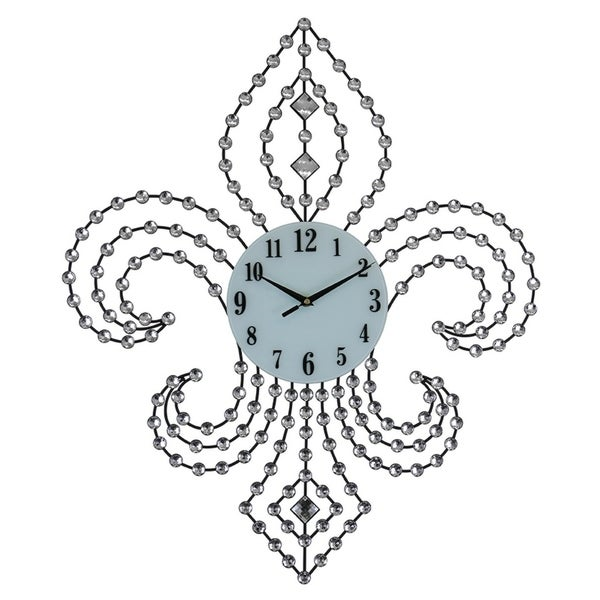 bejeweled fleur de lis black metal wall clock 28x24 free shipping 1400s Clothing bejeweled fleur de lis black metal wall clock 28x24