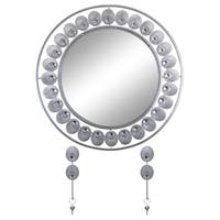 """Elegant Bejeweled Silver Floral Round Wall Mirror with Matching Keychain Holders 26"""""""
