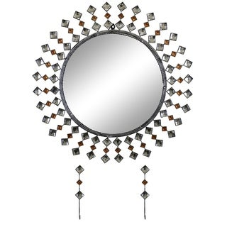 """Elegant Bejeweled Silver and Copper Studs Round Wall Mirror with Matching Keychain Holders 26"""""""