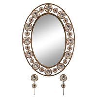 """Elegant Bejeweled Copper Oval Wall Mirror with Matching Keychain Holders 30x21"""""""