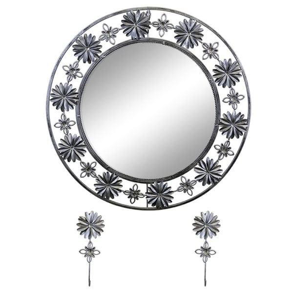 """Elegant Bejeweled Silver Floral Round Wall Mirror with Matching Keychain Holders 24"""""""