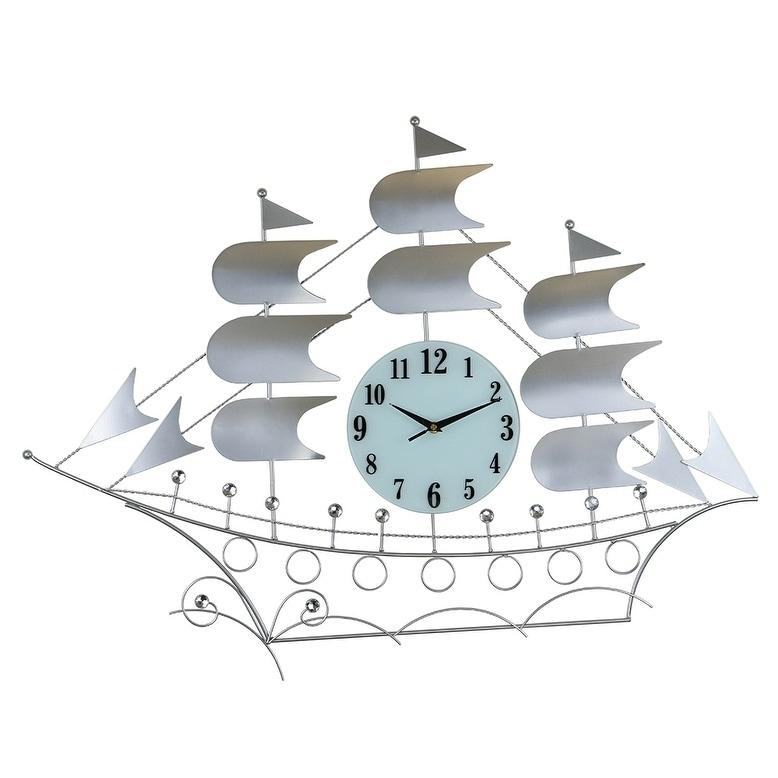 Three Star Silver Metal Wall Clock Sail Boat Style, 24x34...