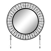 """Elegant Bejeweled Black Round Wall Mirror with Matching Keychain Holders 24"""""""