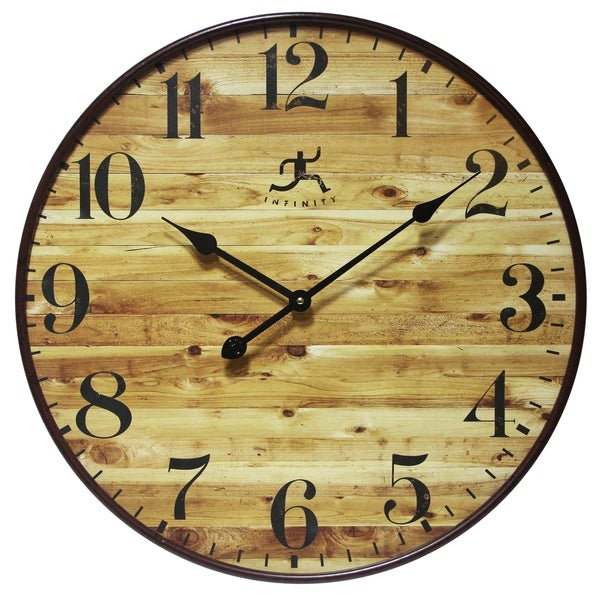 24 inch Rustic brown Wall Clock Eaglewood by Infinity Instruments ...