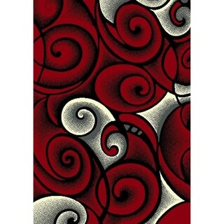 Cambridge Collection Abstract Scroll Red/Grey/Black/White Area Rug (9'3 x 12'6)