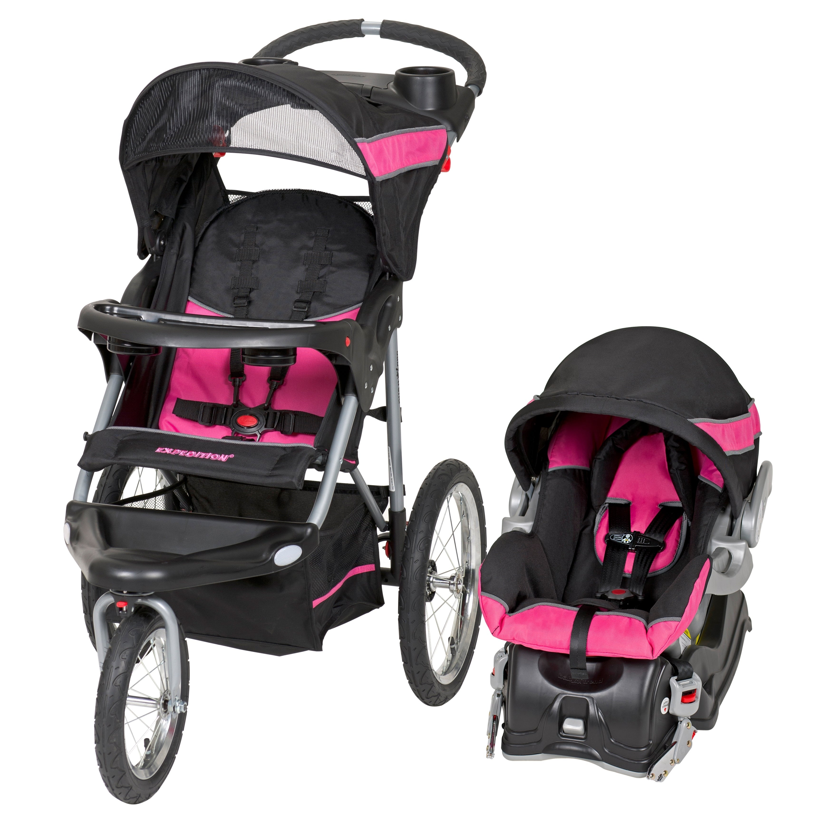 Baby Trend Expedition Jogger Travel System,Bubble Gum, Black