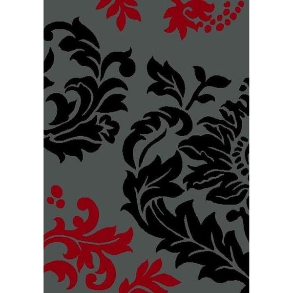 "Cambridge Modern Floral Grey/Black Area Rug - 6'6"" x 9'6"""