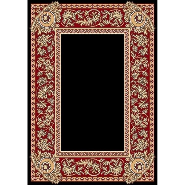 "Cambridge Traditional Border Black/Red Area Rug - 9'3"" x 12'6"""
