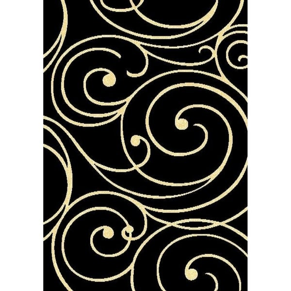 "Cambridge Layfayette Black/Off White Area Rug - 7'9"" x 10'6"""