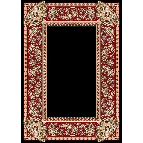 "Cambridge Traditional Border Black/Red Area Rug - 7'9"" x 10'6"""