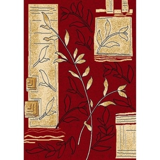 Cambridg Red Block-pattern Floral Stain-reisistant Area Rug (7'9 x 10'6)