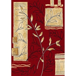 Cambridge Floral Block Red Runner Rug - 2' x 7'6""