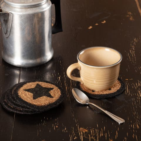 Black Primitive Tabletop Kitchen VHC Farmhouse Star Coaster Set of 6 Jute Stenciled - 4x4
