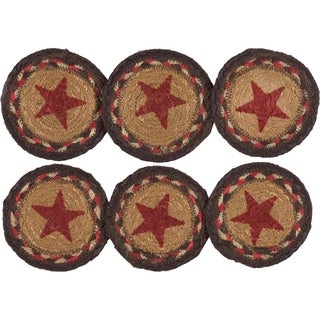 Landon Stencil Stars Jute Coaster Set of 6