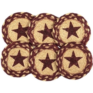 Red Primitive Tabletop Kitchen VHC Burgundy Tan Jute Star Coaster Set of 6 Jute Stenciled - 4x4