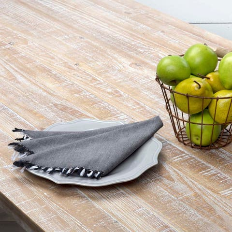 Farmhouse Tabletop Kitchen VHC Harmony Napkin Set of 6 Cotton Solid Color Chambray - Napkin 18x18